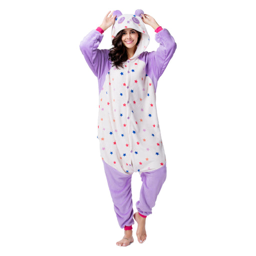 Funny Funny Animal Pajamas For Female Purple Bear Starring Adult Onesie