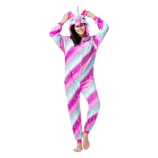Funny Unique Designer Pink Animal Pajamas For Family Mom Rhinoceros Adult Onesie