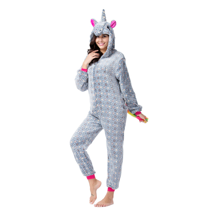 Funny Unique Designer Grey Animal Pajamas For Women Rhinoceros Adult Onesie