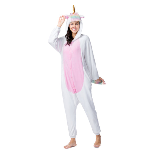 Funny White Pajamas For Female Full Body Unicorn Adult Rainbow Onesie