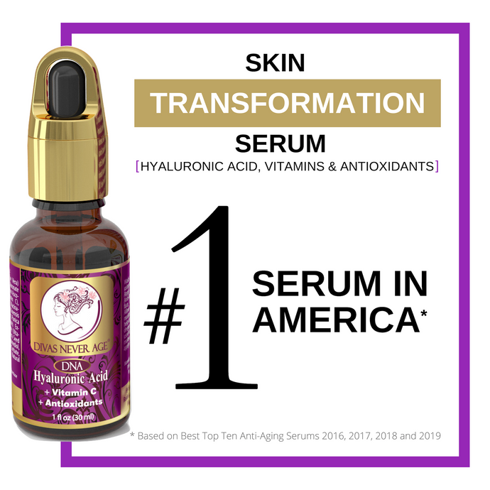 Divas Never Age hyaluronic acid serum, number 1 serum in America. Skin transformation serum.