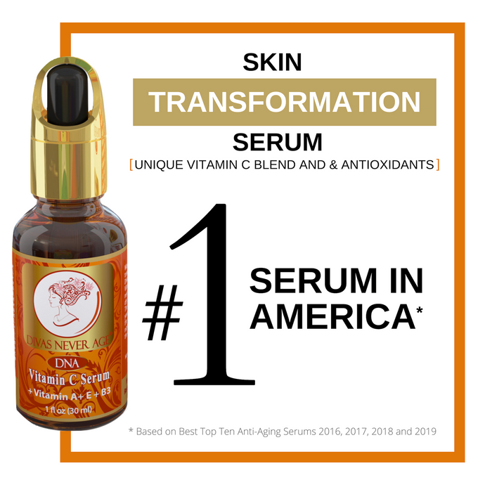 Divas Never Age Vitamin C serum, number 1 serum in America. Skin transformation moisturizer with hyaluronic acid and vitamin C.