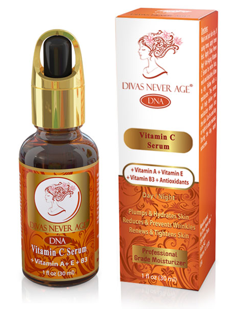 Divas Never Age Vitamin C serum will transform your skin,  improving your skin and will eliminate wrinkles, making you feel and look amazingly beautiful and young.