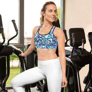 Blue Marble Padded Sports Bra