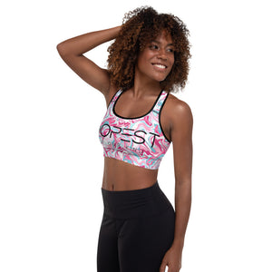 Pink Marble Padded Sports Bra