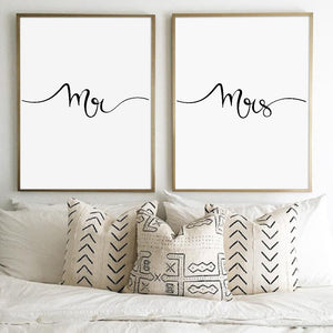 Mr and Mrs Couples Print Canvas Poster