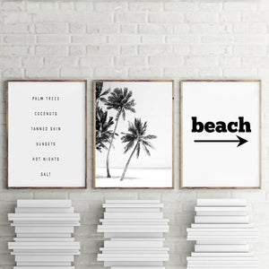Black and White Beach Canvas Prints