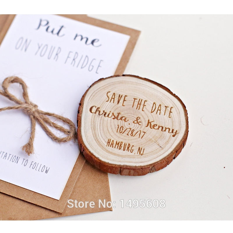 Save the Date Wood Slice Magnet Invitation