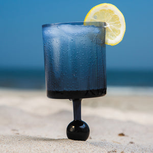 Indigo Skies Caribbean - the beach glass floating wine glass