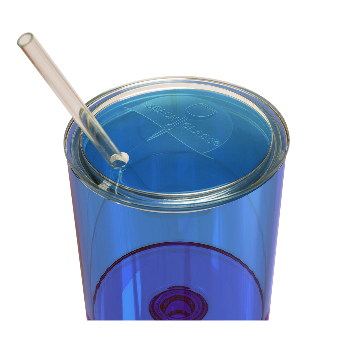 NEW Caribbean Collection Lid & Straw - the beach glass