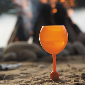 Pink Sunset Beach Glass - the beach glass floating wine glass