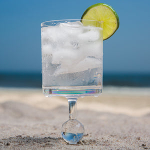 Translucent Shores Caribbean - the beach glass floating wine glass