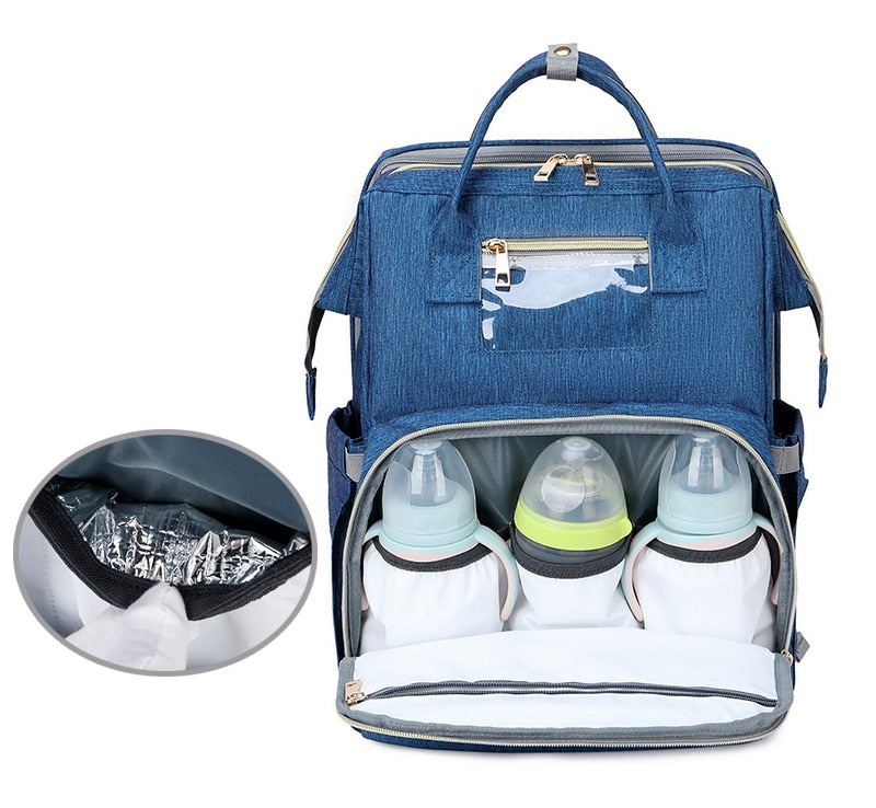 3-in-1 Diaper Bag, USB Charger, and Portable Bassinet