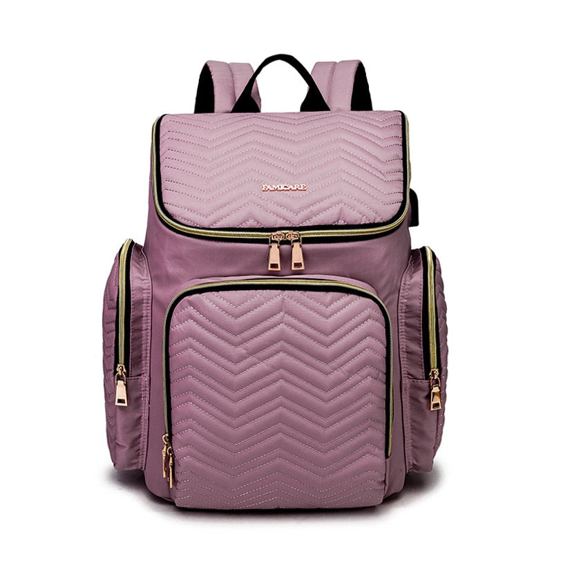 FamiCare 2021 Fashion Embroidered USB Diaper Bag