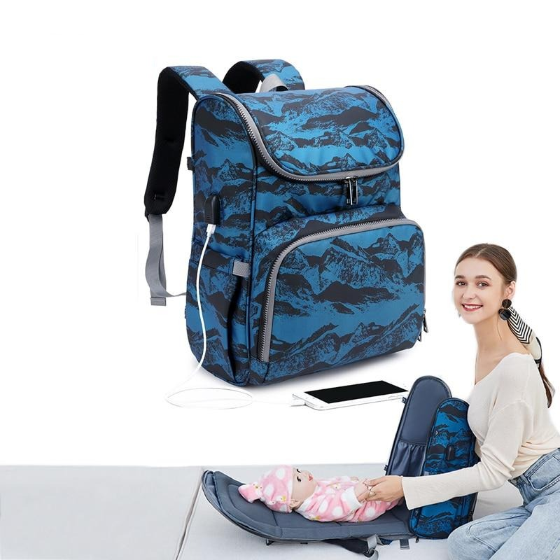 2021 Fashion Printing USB Diaper Bag & Foldable Crib