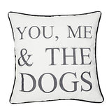 "YugTex Pillowcases Embroidered Pet Lover Gift, You me and The Dogs Throw Pillow Cover, Home Decor, Dog Lovers Gift,Housewarming Gift,Couple Cushion Cover (18""x18"", You me and The Dogs(Ivory))"