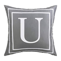 BLEUM CADE Gray Pillow Cover English Alphabet C Throw Pillow Case Modern Cushion Cover Square Pillowcase Decoration for Sofa Bed Chair Car 18 x 18 Inch