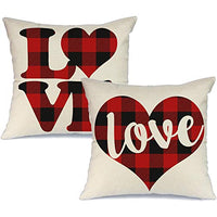 AENEY Valentines Day Pillow Covers 18x18 inch Set of 2 for Home Decor Red Black Buffalo Check Heart Love Decor Valentines Day Throw Pillows Decorative Cushion Cases Valentine Decorations A293