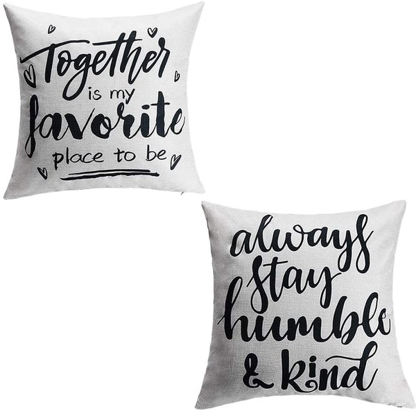 ZOORON Cotton Linen Throw Pillow Cover 18x18, Together is My Favorite Place to Be, Always Stay Humble and Kind Lifestyle Sign Throw Pillow Covers for Home Decor (Home-2-pack)