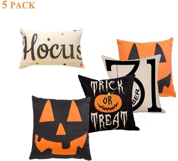 "Sweetdecor 5 Pack Halloween Cotton Linen Home Decor Cushion Covers Throw Pillow Covers Pillow Case :18"" x 18""/12"" 20"""