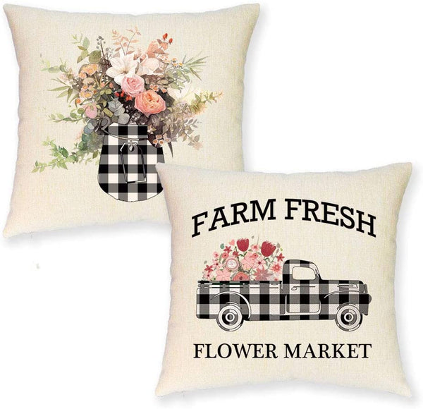 JYNHOOR Set of 2 Farmhouse Spring Throw Pillow Covers –18x18 Inch Buffalo Plaid Farmhouse Truck Farm Fresh Flower Summer Pillow Covers for Spring Home Decor-Decorative Cushion Cover