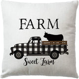 "7COLORROOM Set of 4 Farmhouse Quote Throw Pillow Covers with Farm Sweet Farm Cushion Cover Retro Truck Cow Rustic Home Decor 18"" x 18""Pillowcases Welcome to Our Farmhouse (Truck Cow)"