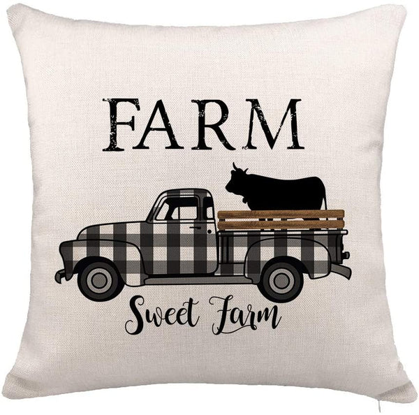 "YOENYY Farm Sweet Farm Plaid Truck with Cow Throw Pillow Cover Cushion Case for Sofa Couch Fall Farmhouse Home Decor Cotton Linen 18"" x 18"""