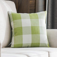 MIULEE Classic Retro Checkers Plaids Cotton Linen Soft Solid Grey and White Decorative Throw Pillow Covers Home Decor Design Cushion Case for Sofa Bedroom Car 16 x 16 Inch 40 x 40 cm