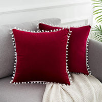 WLNUI Soft Velvet Valentines Day Burgundy Pillow Covers Decorative Cute Pom Poms Throw Pillow Covers Square Cushion Case for Sofa Couch Home Decor 18x18 Inches