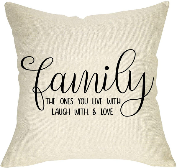 Softxpp Home Sweet Home Throw Pillow Cover, Decorative Farmhouse Cushion Case Love Heart Decor Rustic Square Pillowcase Spring Summer Home Decorations for Sofa Couch Cotton Linen 18'' x 18''