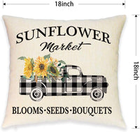 JYNHOOR Set of 2 Farmhouse Throw Pillow Covers –18x18 Inch Buffalo Plaid Truck Sunflower Pillow Covers for Spring Home Decor-Farm Decorative Pillowcase