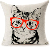 MFGNEH Home Decor Cotton Linen Pillow Covers 18x18, Cute Cat Wearing Red Glasses Throw Pillow Case Cushion Cover for Sofa