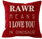 "Cotton linen Letters RAWR MEANS I LOVE YOU IN DINOSAUR Throw pillow case Cushion cover pillowcase for Sofa home decor 18 ""X 18 """