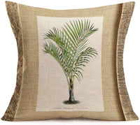 "Fukeen Set of 4 Tropical Paradise Plant Throw Pillow Case Coconut Palm Tree Decorative Burlap Cushion Covers Exotic Beach Style Home Office Decorations Cotton Linen Square 18""x18"" Pillow Protectors"