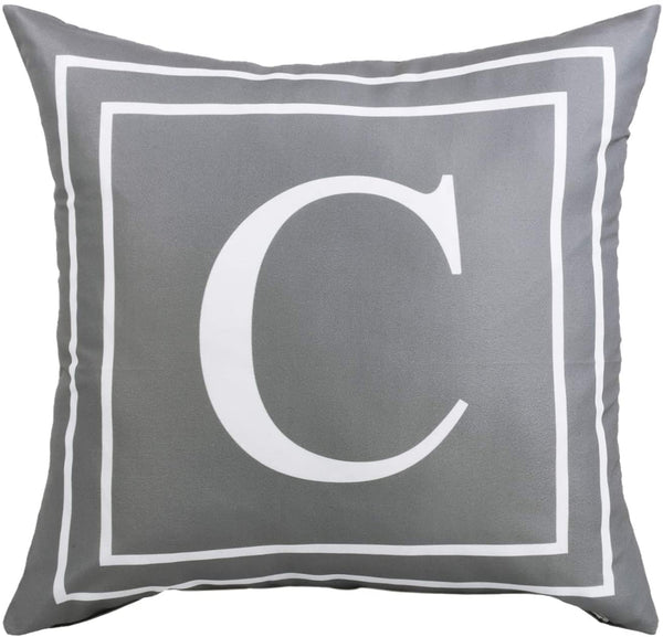 Fascidorm Gray Pillow Cover English Alphabet C Throw Pillow Case Modern Cushion Cover Square Pillowcase Decoration for Sofa Bed Chair Car 18 x 18 Inch