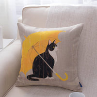 JES&MEDIS Cute Cat Theme Print Square Throw Pillow Cover Cotton Linen Spring Home Decorative Cushion Case for Bed Office Car 18 x 18 Inches, Yellow Umbrella Cat