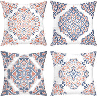 Suesoso Mosaic Moroccan Pillowcases,4 Pillow Set Home Decoration,Blue Beautiful and Fashion Tiles Moroccan Ornaments Mosaic Throw Pillowcovers 20 x 20 inch Decorative Pillows Case