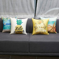 Anickal Summer Decorations Set of 4 Decorative Throw Pillow Covers 18x18 Hello Summer Beach Pineapple Sunshine Starfish Cotton Linen Pillow Cases for Summer Home Decor