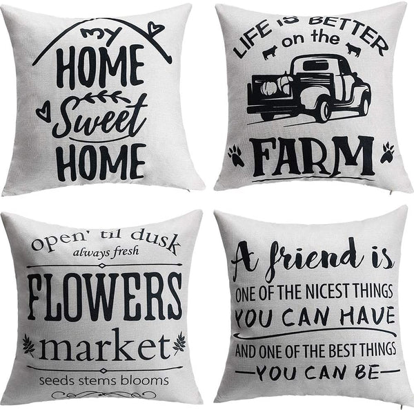 ZOORON Cotton Linen Throw Pillow Cover 18x18, My Home Sweet Home, Friends, Flowers Market Farmstyle Sign Throw Pillow Covers for Home Decor (4-Pack)