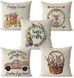 Oxygentle Easter Pillow Covers, 4 PCS 18x18 Inch Natural Cotton Linen Welcome Easter Egg Bunny Decorative Pillow Cases Spring Holiday Throw Cushion Cover for Home Sofa Office Car Party Fesitival Decor