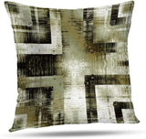 Soopat Decorative Throw Pillow Cover Square Cushion 18 x 18 Inch Art Vintage Ornamental Beige Olive Light Grey Green Brown Black Colors Monochrome Home Decor Pillowcase