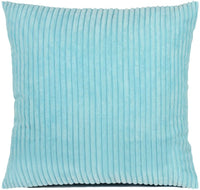 sitiawan Striped Corduroy Decorative Throw Pillow Cover Toss Pillowcase Supersoft Cushion Covers for Couch, 22 X 22 Inches, Turquoise