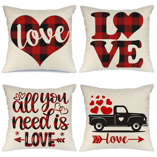 AENEY Valentines Day Pillow Covers 18x18 inch Set of 4 for Home Decor Red Black Buffalo Check Heart Love Truck Decor Valentines Day Throw Pillows Decorative Cushion Cases Valentine Decorations A285