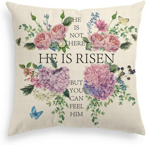 AVOIN Easter He is Risen Pillow Cover Flower Cross Butterfly Linen Decorative Throw Pillowcase, 18 x 18 Inch Cute Spring Cushion Protector for Sofa Couch Home Decor