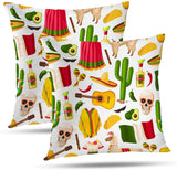 Batmerry Cactus Pillow Cover Decorative Summer Throw Pillow Covers 18x18 Inch Set of 2, Spring Fiesta Sombrero Cactus Peppers Double Sided Square Pillow Cases Pillowcase Sofa Cushion