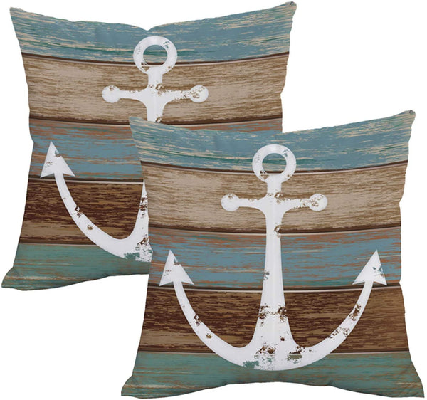 BLEUM CADE Nautical Anchor Rustic Wood Throw Pillow Cover Anchor Throw Pillow Case Set of 2 Decorative Pillow Case for Sofa Couch Bed Office Car