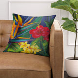 VANMI Throw Pillow Cover Floral Bird Tropical Paradise Hawaii Decorative Pillow Case Home Decor Square 18 x 18 Inch Pillowcase