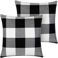 InnoGear Black and White Throw Pillow Cover, Classic Buffalo Check Cotton Linen 18 x 18 inch for Home Decor Design Cushion Case Sofa Bedroom Car, Pack of 2