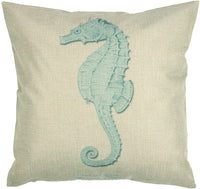 "Luxbon Set of 4Pcs Nautical Decor Seaside Themed Cotton Linen Light Green Seahorse Coral Starfish Seaweed Throw Pillow Cases Sofa Couch Chair Decorative Cushion Covers 18""x18""/45x45cm"