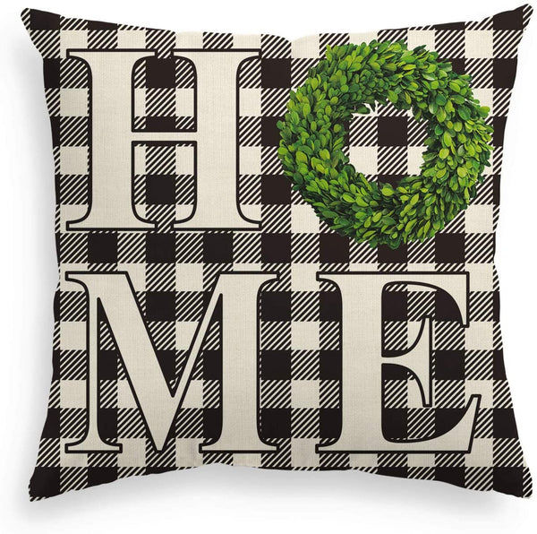 AVOIN Boxwood Wreath Home Throw Pillow Cover, Fall Thanksgiving Easter Buffalo Check Plaid 18 x 18 Inch Farmhouse Linen Cushion Case Decoration for Sofa Couch